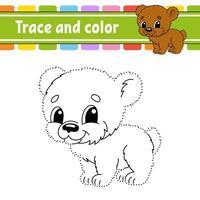 prick till prick spelbjörn. dra ett streck. för barn. aktivitet kalkylblad. målarbok. med svar. tecknad figur. vektor illustration.