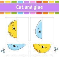 klipp och spela. pappersspel med lim. flash-kort. utbildning kalkylblad. aktivitetssida. rolig karaktär. isolerad vektorillustration. tecknad stil. vektor
