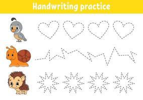 handstilspakt. utbildning utveckla kalkylblad. aktivitetssida. färgspel för barn. isolerad vektorillustration. tecknad figur. vektor