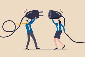 Geschäftspartnerschaft, Teamwork-Zusammenarbeit oder Arbeitstreffen und Diskussion, um ein Lösungskonzept zu erhalten, kluger Geschäftsmann und Geschäftsfrau, Büromitarbeiter, die einen elektrischen Stecker halten, um das Geschäft zu verbinden. vektor