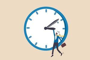Projekttermin, Zeit-Countdown für die Vereinbarung Zeitplan, um das Arbeitskonzept zu beenden, frustrierter Stress-Geschäftsmann, der Uhrzeiger hält, während Minutenzeiger gesehen hat, wie er zur Terminzeit übergegangen ist.