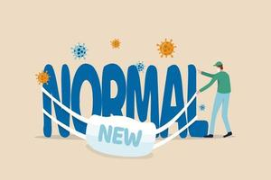 """Coronavirus neuer normaler Lebensstil, Covid-19-Pandemie lassen Menschen ein neues Leben führen, um das Ausbruchskonzept zu schützen. Medizinisches Personal, das eine Gesichtsmaske trägt, schafft es, eine Maske mit dem Wort """"Neu"""" auf dem Hauptwort """"Normal"""" zu tragen. vektor"""