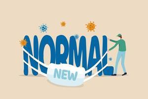 coronavirus ny normal livsstil, covid-19 pandemi gör människor som lever nytt liv för att skydda utbrott koncept, medicinsk personal som bär ansiktsmask lyckas bära mask med ordet nytt på huvudordet normal. vektor
