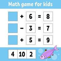 Mathe-Spiel für Kinder. Arbeitsblatt zur Entwicklung von Bildung. Aktivitätsseite mit Bildern. Spiel für Kinder. Farbisolierte Vektorillustration. lustiger Charakter. Cartoon-Stil. vektor