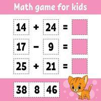 matematikspel för barn. utbildning utveckla kalkylblad. aktivitetssida med bilder. spel för barn. färg isolerad vektorillustration. rolig karaktär. tecknad stil. vektor