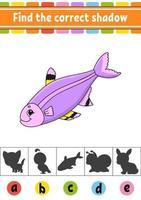 Finde den richtigen Schattenfisch. Arbeitsblatt zur Entwicklung von Bildung. Aktivitätsseite. Farbspiel für Kinder. isolierte Vektorillustration. Zeichentrickfigur. vektor