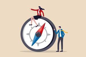 Frauenführung, erfolgreiche weibliche Führungsgeschäftsleitung oder Visionärin, um das Zielkonzept zu erreichen, Vertrauen kluge Geschäftsführerin der Geschäftsfrau in Abendgarderobe, die auf dem Kompass sitzt und den Weg weist vektor