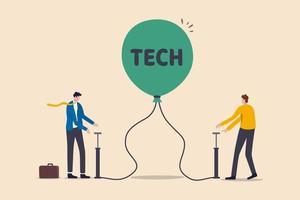 teknik eller teknik aktie bubbla, övervärderade aktier orsakade av ekonomisk kris och giriga investerare koncept, affärsmän investerare riskerar genom att pumpa luft i redo att spränga ballong med ordet teknik.