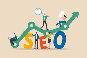 SEO, Suchmaschinenoptimierung für die Website, um im Suchergebnisseitenkonzept zu zeigen, professionelle Leute, die Lupe, Mauszeiger halten oder Laptop verwenden, sitzen auf analytischem Diagramm auf dem Wort SEO. vektor