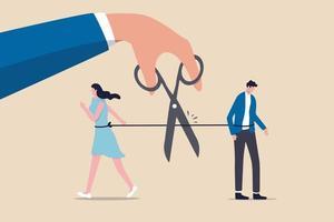 geschiedenes Paar, Trennung der gebrochenen Ehe Ende des Beziehungskonzepts, Hand mit einer Schere, um ein Seil zu schneiden, um das Paar auseinander zu reißen, beunruhigt Mann und Frau mit Traurigkeitsgefühlen. vektor