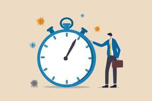 Zeit-Countdown für den Ausbruch des Coronavirus-Covid-19, der sich auf die globale Wirtschafts- und Geschäftsabschaltung oder das Quarantänekonzept auswirkt. Geschäftsmann trägt eine Gesichtsmaske, die mit der Zeit steht, die die Stoppuhr herunterzählt.