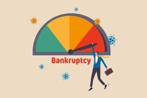företagets konkurs på grund av koronavirus ekonomisk kris, covid-19 pandemi orsakar skuld och finansiella problem koncept, affärsman företag ägare håller max skuld varning konkurs kredit mätare. vektor