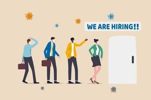 jobb öppet för arbetslösa affärsmän eller avskedade, ny ledighet för arbetslösa efter ekonomisk återhämtning i coronavirus covid-19-krisen, personer som står i kö söker jobb med viruspatogen vektor