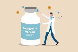 Entdeckung des Coronavirus-Covid-19-Impfstoffs, Medikament oder Medizin zur Heilung des Covid-19-Krankheitskonzepts, Arzt oder medizinischer Forscher, der die große Flasche des Coronavirus-Impfstoffs mit Viruspathogen vorstellt. vektor