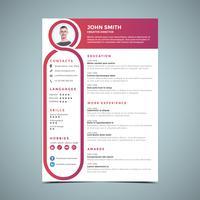 Rosa resume designmall vektor