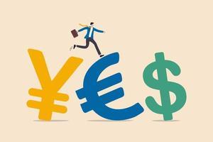 Devisenhandel zwischen Währung um das Wort oder Investmentfondsflusskonzept, Erfolgsgeschäftsmanninvestor, der Anzug trägt, der auf japanischem Yen, Euro und US-Dollar-Geldwährungssymbol geht. vektor
