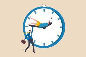 Work-Life-Balance, Überstunden, Menschen arbeiten spät, wenn sie von zu Hause aus arbeiten, persönliche Zeit mit Arbeitszeitkonzept verschmelzen, müder Geschäftsmann, der den Minutenzeiger der Uhr hält, während derselbe auf dem Stundenzeiger schläft vektor