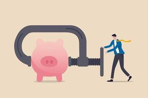 Unternehmen oder Unternehmen kürzen das Budget oder quetschen und reduzieren die Ausgaben aufgrund der Geschäfts- oder Wirtschaftskrise im Covid-19-Coronavirus-Rezessionskonzept vektor
