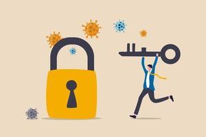 låsa upp eller öppna igen covid-19 coronavirus-låsning, starta om verksamheten som vanligt för att återställa ekonomisk lågkonjunktur efter coronavirus-kraschkoncept, affärsmanledare som håller nyckeln för att låsa upp och återuppta affärer. vektor