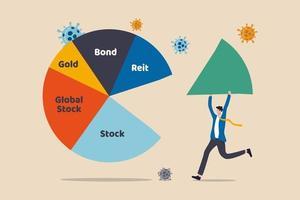 Asset Allocation-Investition oder Risikomanagement bei einem Absturz des Covid-19-Coronavirus, der ein wirtschaftliches Rezessionskonzept verursacht, Geschäftsmann-Investor oder Vermögensverwalter, der ein großes Stück Asset Allocation-Tortendiagramm hält. vektor