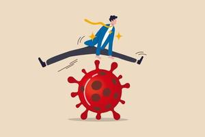 Unternehmen, um über finanzielle Probleme zu springen, zu überleben und im Coronavirus-Ausbruch Covid-19-Wirtschaftskrisen-Konzept zu gewinnen, Vertrauen Geschäftsmann Führer leicht über Covid-19 Coronavirus-Erreger zu springen. vektor