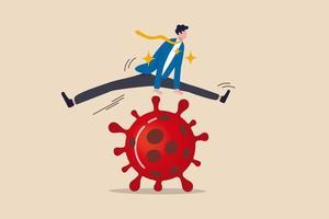 företag att hoppa över passera ekonomiska problem, överleva och vinna i coronavirus utbrott covid-19 ekonomisk kris koncept, förtroende affärsman ledare lätt hoppa över covid-19 coronavirus patogen. vektor