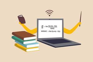 Online-E-Learning, Unterrichten über einen Internetkurs oder Online-Lernen zu Hause im Coronavirus-Covid-19-Ausbruchskonzept, Computer-Laptop mit mathematischer Gleichung auf dem Display mit den Händen als Professor oder Lehrer. vektor