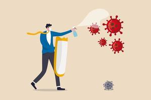 Unternehmen zu kämpfen und in Coronavirus Ausbruch Covid-19 Wirtschaftskrise Konzept zu gedeihen, Geschäftsmann Führer volle Schutzausrüstung hält starken Schild und Desinfektionsspray Kampf mit Virus. vektor