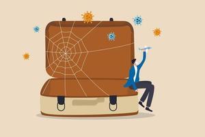 Reise abgesagt, Reise ausgesetzt alle Flughäfen geschlossen in Coronavirus Covid-19 Ausbruch Krise Konzept, trauriger Mann Tourist sitzt auf leerer Reisetasche, Gepäck hält Spielzeugflugzeug warten auf Reisen um die Welt vektor