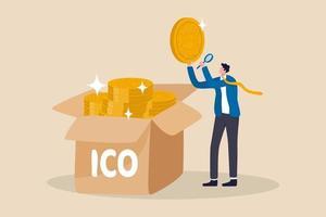 ico, inledande myntutbudsprocess för att skapa ny kryptovalutamarknad för att handla med marknadskoncept, affärsmaninvesterare eller myntskapare väljer nytt kryptovalutamynt och tittar på detaljer. vektor