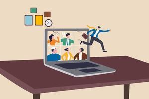 Beenden der Covid-19-Sperrung, Wiederaufnahme der Arbeit im Büro, Beendigung der Fernarbeit und Rückkehr zur Arbeit von Angesicht zu Angesicht, Geschäftsmann springt von einem Fernvideoanruf zurück zur Arbeit im Büro.