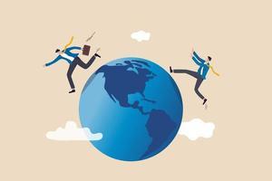 globaler Geschäftskonkurrent, Innovation, die die agile Welt verändert, internationales Konzept für das Arbeiten im Ausland, Geschäftsmann konkurrieren, indem sie weglaufen und sich gegenseitig auf der Welt, dem Planeten Erde, fangen. vektor