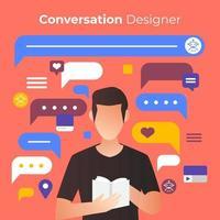 Entwerfen von Konversationen für die Chatbot-Technologie vektor