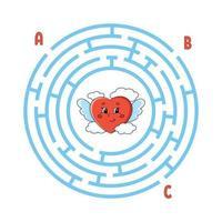 cirkel labyrint. spel för barn. pussel för barn. rund labyrintkonst. färg vektorillustration. hitta rätt väg. utbildning kalkylblad. vektor