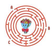 Kreis Labyrinth. Spiel für Kinder. Puzzle für Kinder. rundes Labyrinth-Rätsel. Farbvektorillustration. finde den richtigen Weg. Bildungsarbeitsblatt. vektor
