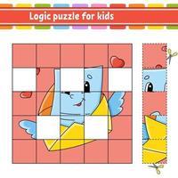 logikpussel för barnkuvert. utbildning utveckla kalkylblad. lärande spel för barn. aktivitetssida. enkel platt isolerad vektorillustration i söt tecknad stil. vektor