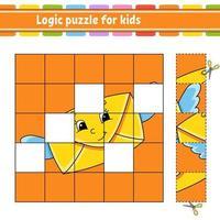 logik pussel för barn brev. utbildning utveckla kalkylblad. lärande spel för barn. aktivitetssida. enkel platt isolerad vektorillustration i söt tecknad stil. vektor