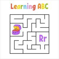 fyrkantig labyrintringlåda. spel för barn. kvadratlabyrint. utbildning kalkylblad. aktivitetssida. lära sig engelska alfabetet. tecknad stil. hitta rätt väg. färg vektorillustration. vektor