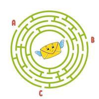 cirkel labyrint kuvert. spel för barn. pussel för barn. rund labyrintkonst. färg vektorillustration. hitta rätt väg. utbildning kalkylblad. vektor