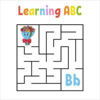fyrkantig labyrintbukett. spel för barn. kvadratlabyrint. utbildning kalkylblad. aktivitetssida. lära sig engelska alfabetet. tecknad stil. hitta rätt väg. färg vektorillustration. vektor