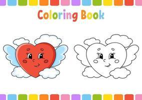 Malbuch für Kinder Herz. Zeichentrickfigur. Vektorillustration. Fantasy-Seite für Kinder. Valentinstag. schwarze Kontur Silhouette. isoliert auf weißem Hintergrund. vektor