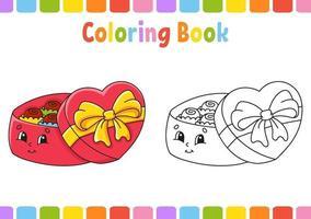 Malbuch für Kinder Candy Box. Zeichentrickfigur. Vektorillustration. Fantasy-Seite für Kinder. Valentinstag. schwarze Kontur Silhouette. isoliert auf weißem Hintergrund. vektor