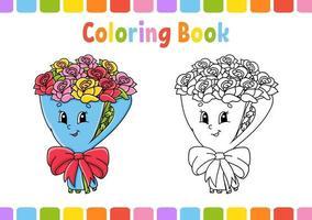 Malbuch für Kinder Blumenstrauß. Zeichentrickfigur. Vektorillustration. Fantasy-Seite für Kinder. Valentinstag. schwarze Kontur Silhouette. isoliert auf weißem Hintergrund. vektor