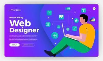 Zielseite für die Ankündigung von Webdesignern vektor