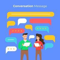 Leute, die online mit Chatbox-Blasen chatten vektor