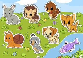 sätta djur. söta seriefigurer. husdjur clipart. ritad för hand. färgglada pack. vektor illustration. kollektion för lappmärken. etikett designelement. för daglig planerare, dagbok, arrangör.