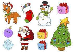 uppsättning klistermärken med söta seriefigurer. jultema. ritad för hand. färgglada pack. vektor illustration. kollektion för lappmärken. etikett designelement. för daglig planerare, dagbok, arrangör.