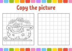 kopiera bildsläden. vintertema. sidor för målarbok för barn. utbildning utveckla kalkylblad. spel för barn. handstil. rolig karaktär. söt tecknad vektorillustration. vektor