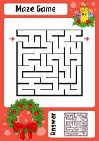 fyrkantigt labyrintljus. spel för barn. vintertema. rolig labyrint. utbildning utveckla kalkylblad. aktivitetssida. tecknad stil. gåta för förskolan. logisk gåta. färg vektorillustration. vektor