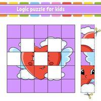 logikpussel för barn med hjärta. utbildning utveckla kalkylblad. lärande spel för barn. aktivitetssida. enkel platt isolerad vektorillustration i söt tecknad stil. vektor